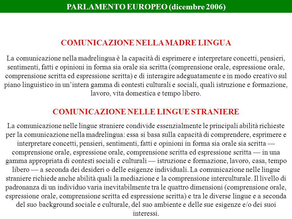La comunicazione nella madrelingua è la capacità di esprimere e interpretare concetti, pensieri, sentimenti, fatti e opinioni in forma sia orale sia s