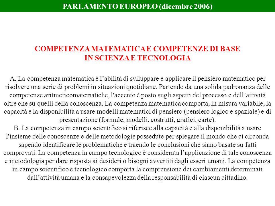 A. La competenza matematica è labilità di sviluppare e applicare il pensiero matematico per risolvere una serie di problemi in situazioni quotidiane.