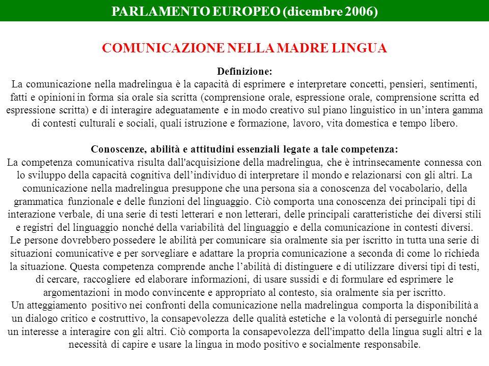 Definizione: La comunicazione nella madrelingua è la capacità di esprimere e interpretare concetti, pensieri, sentimenti, fatti e opinioni in forma si