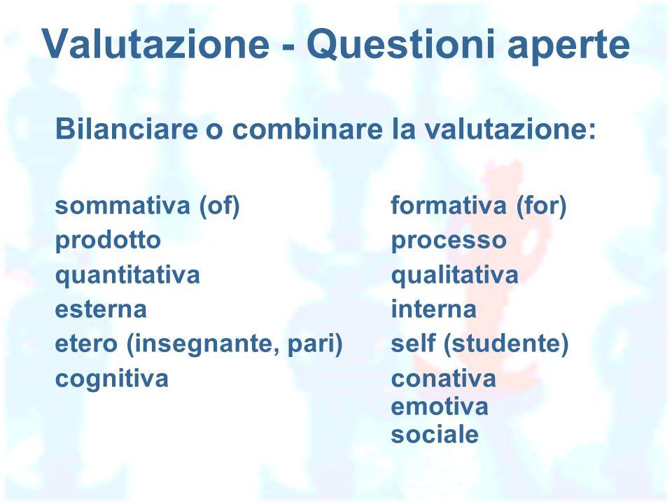 Valutazione - Questioni aperte Bilanciare o combinare la valutazione: sommativa (of)formativa (for) prodottoprocesso quantitativaqualitativa esternainterna etero (insegnante, pari)self (studente) cognitivaconativa emotiva sociale