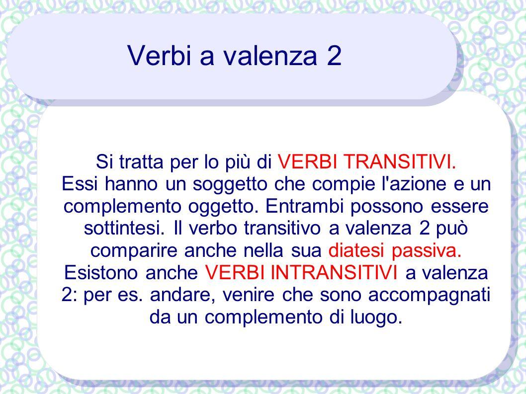 Verbi a valenza 2 Si tratta per lo più di VERBI TRANSITIVI. Essi hanno un soggetto che compie l'azione e un complemento oggetto. Entrambi possono esse