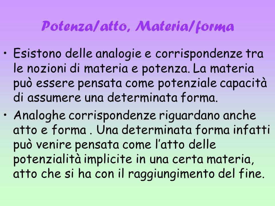 Potenza/atto, Materia/forma Esistono delle analogie e corrispondenze tra le nozioni di materia e potenza. La materia può essere pensata come potenzial