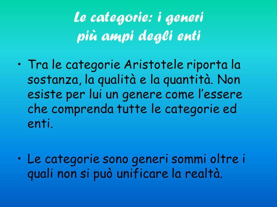 Le categorie: i generi più ampi degli enti Tra le categorie Aristotele riporta la sostanza, la qualità e la quantità. Non esiste per lui un genere com