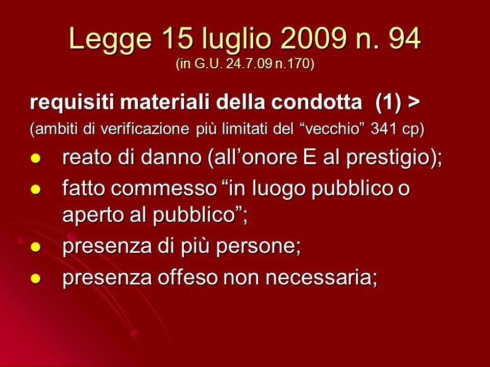 Legge 15 luglio 2009 n. 94 (in G.U.
