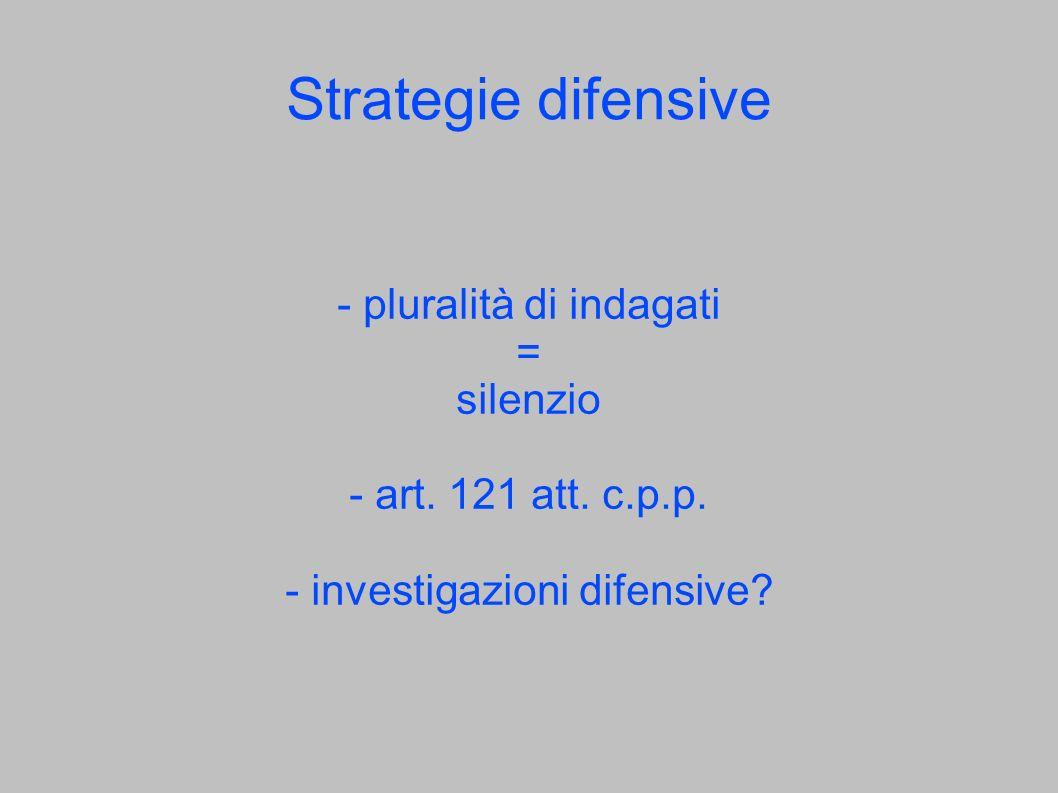 Strategie difensive - pluralità di indagati = silenzio - art. 121 att. c.p.p. - investigazioni difensive?