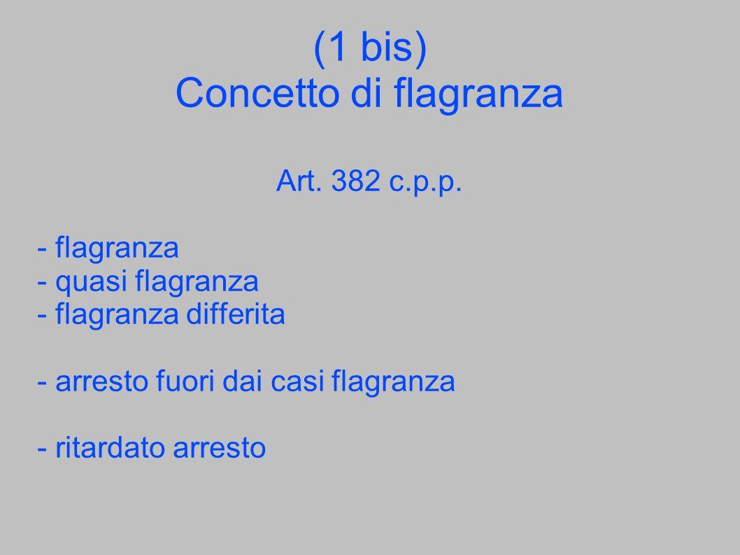 (1 bis) Concetto di flagranza Art. 382 c.p.p. - flagranza - quasi flagranza - flagranza differita - arresto fuori dai casi flagranza - ritardato arres