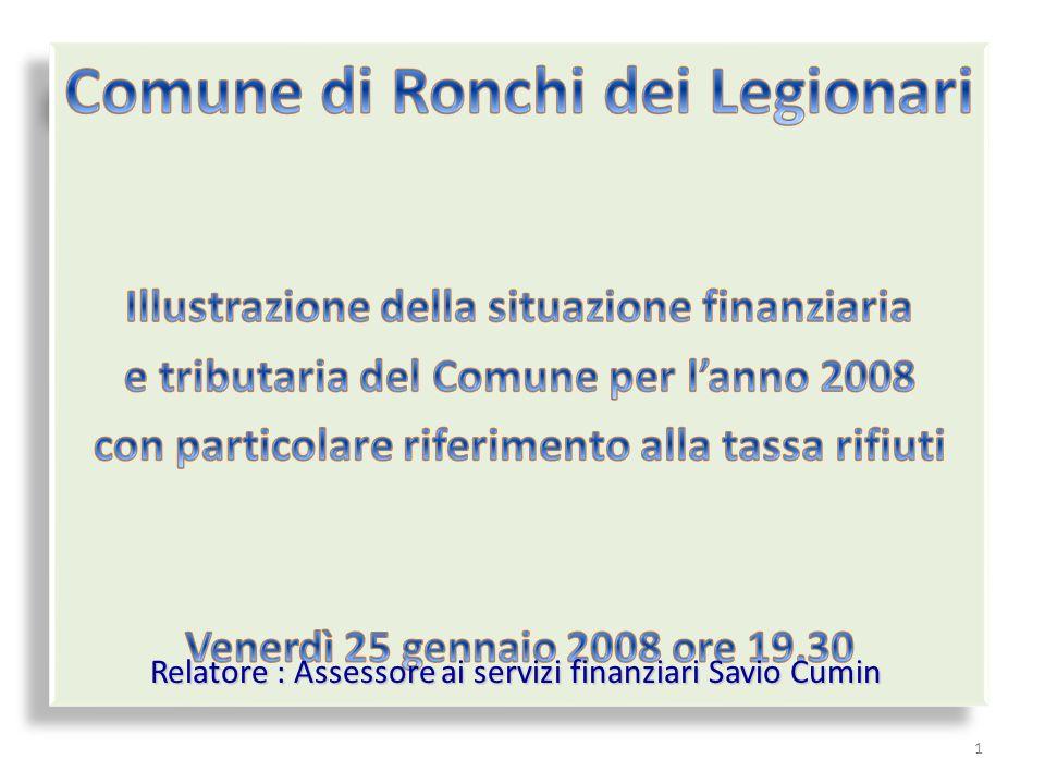 1 Relatore : Assessore ai servizi finanziari Savio Cumin