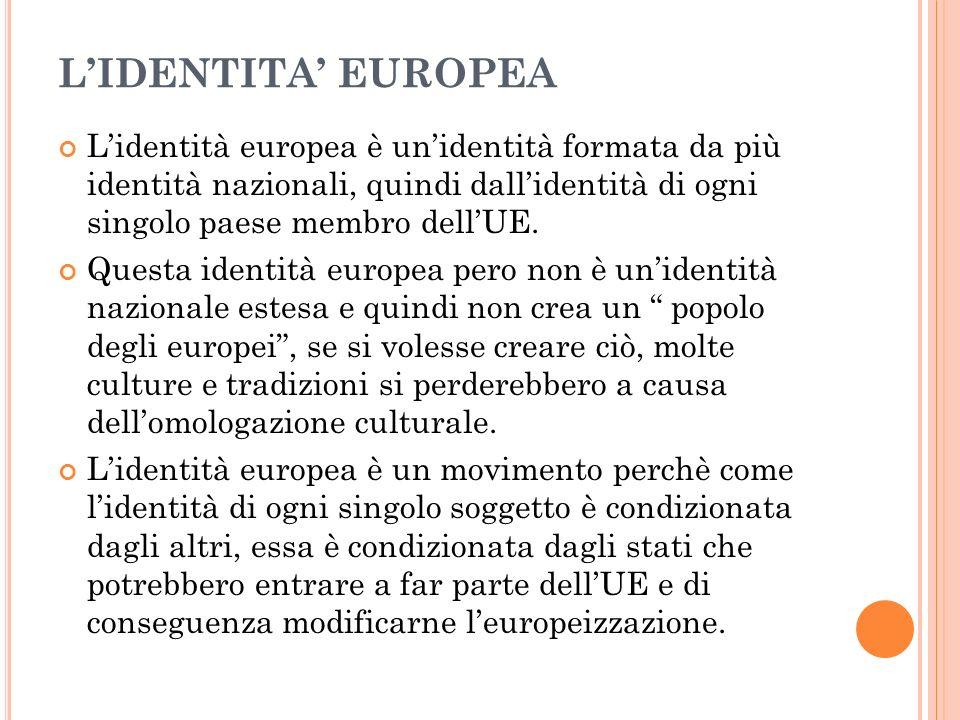 LIDENTITA EUROPEA Lidentità europea è unidentità formata da più identità nazionali, quindi dallidentità di ogni singolo paese membro dellUE.