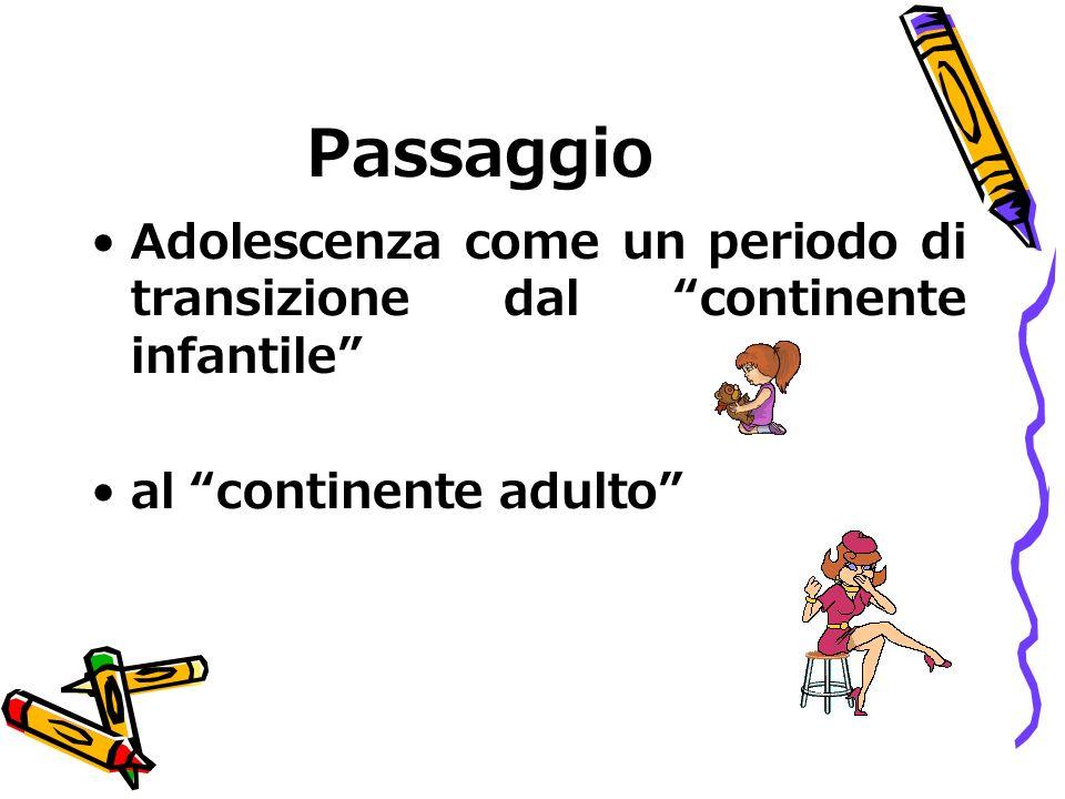 Passaggio Adolescenza come un periodo di transizione dal continente infantile al continente adulto