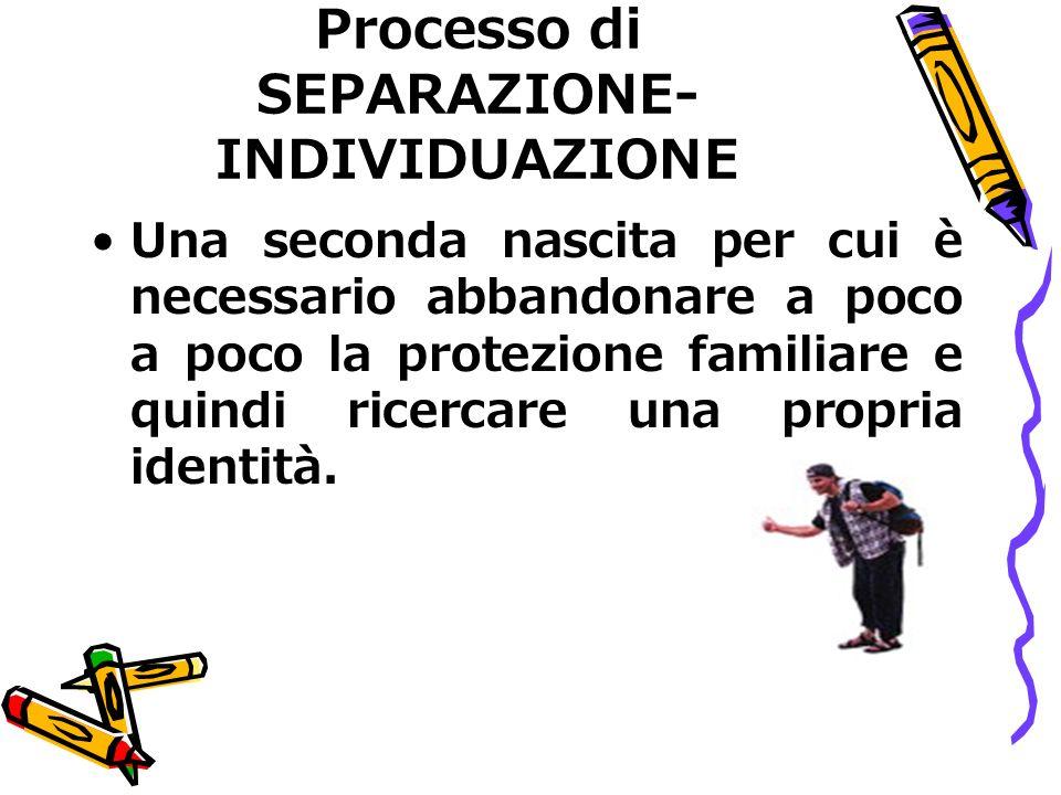 Processo di SEPARAZIONE- INDIVIDUAZIONE Una seconda nascita per cui è necessario abbandonare a poco a poco la protezione familiare e quindi ricercare una propria identità.