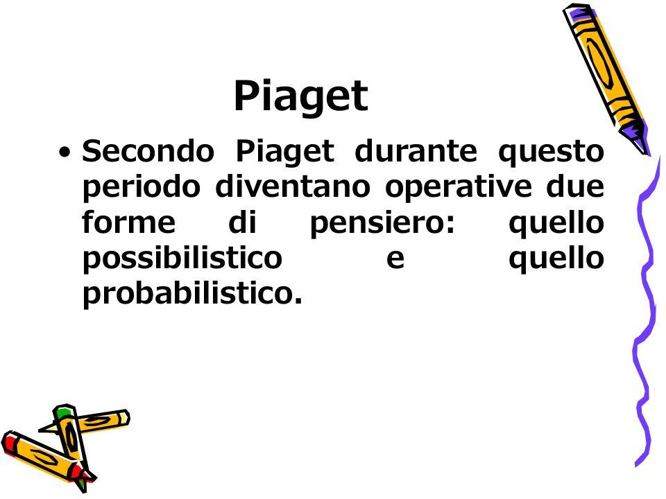 Piaget Secondo Piaget durante questo periodo diventano operative due forme di pensiero: quello possibilistico e quello probabilistico.