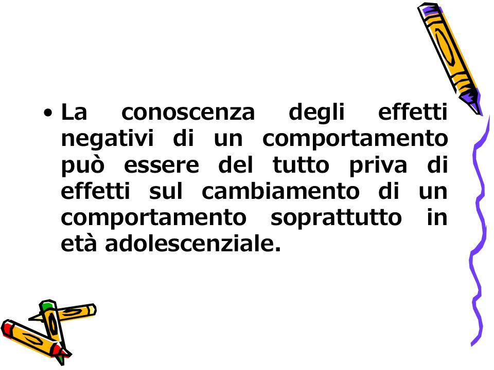 La conoscenza degli effetti negativi di un comportamento può essere del tutto priva di effetti sul cambiamento di un comportamento soprattutto in età adolescenziale.