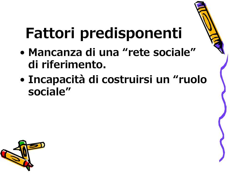 Fattori predisponenti Mancanza di una rete sociale di riferimento.