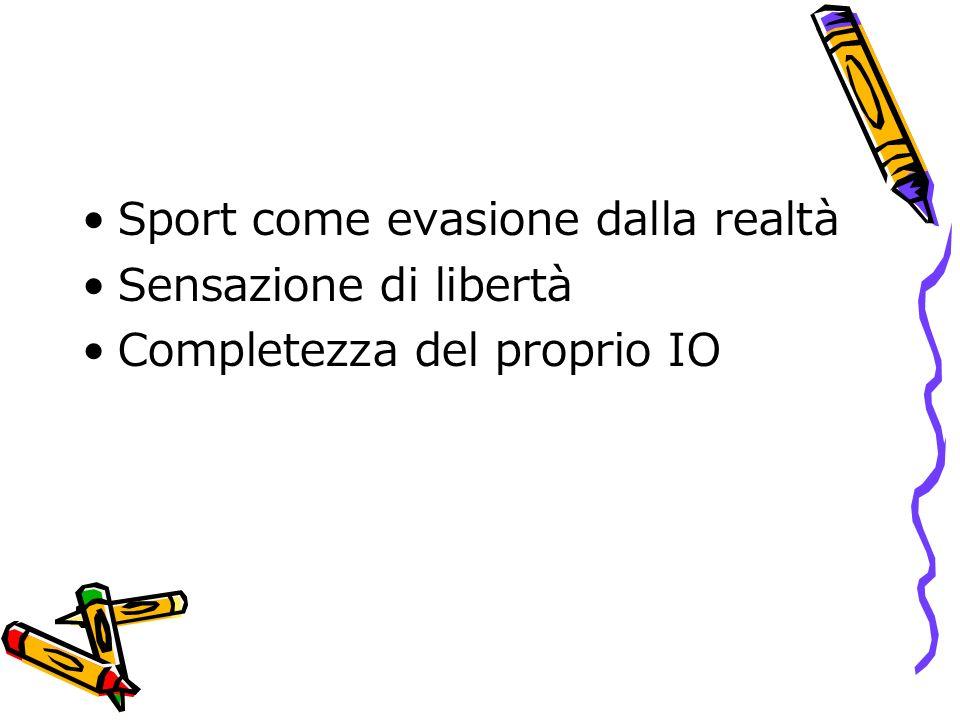 Sport come evasione dalla realtà Sensazione di libertà Completezza del proprio IO