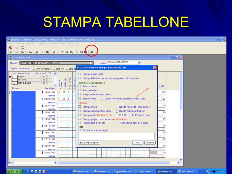 STAMPA TABELLONE