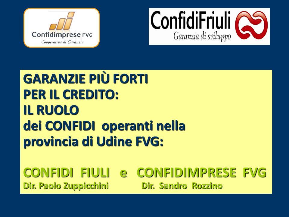 GARANZIE PIÙ FORTI PER IL CREDITO: IL RUOLO dei CONFIDI operanti nella provincia di Udine FVG: CONFIDI FIULI e CONFIDIMPRESE FVG Dir.