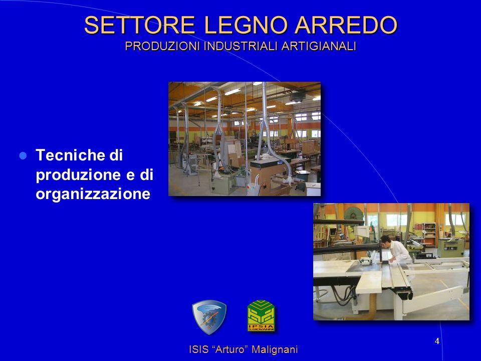 ISIS Arturo Malignani 5 SETTORE LEGNO ARREDO PRODUZIONI INDUSTRIALI ARTIGIANALI Tecniche di gestione e conduzione di macchine ed impianti