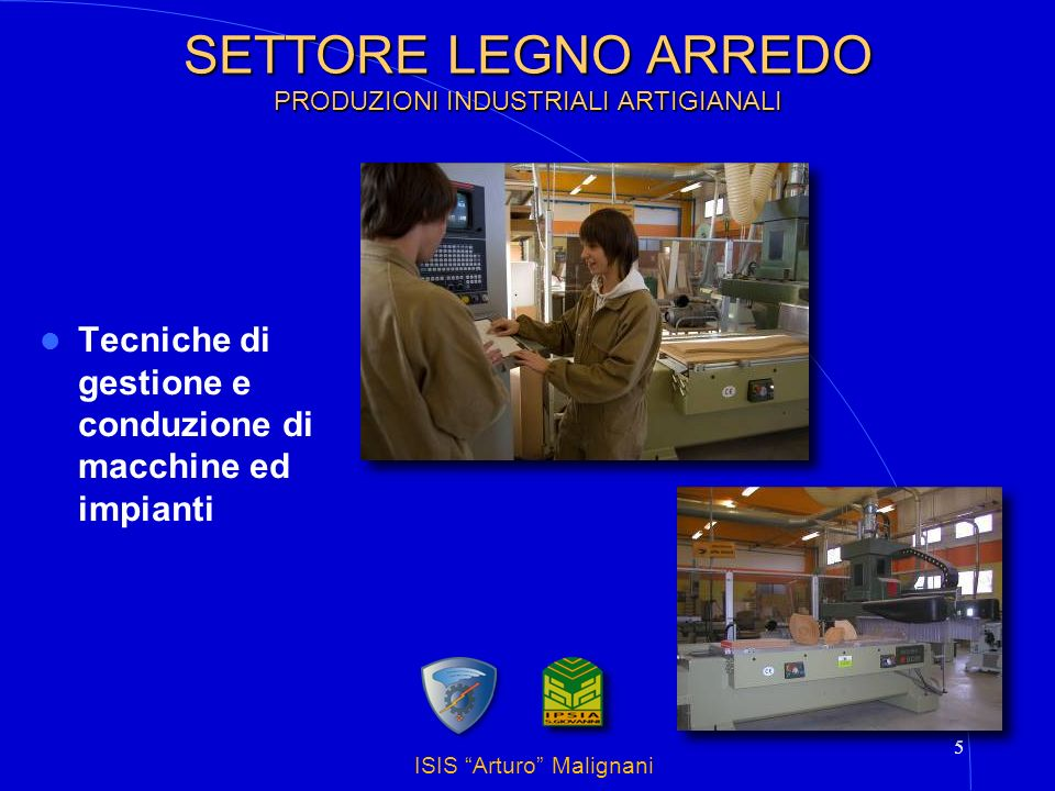 ISIS Arturo Malignani 6 SETTORE LEGNO ARREDO PRODUZIONI INDUSTRIALI ARTIGIANALI Progettazione e realizzazione del prodotto