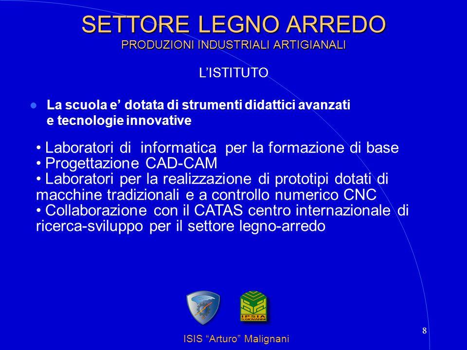 ISIS Arturo Malignani 8 SETTORE LEGNO ARREDO PRODUZIONI INDUSTRIALI ARTIGIANALI La scuola e dotata di strumenti didattici avanzati e tecnologie innova