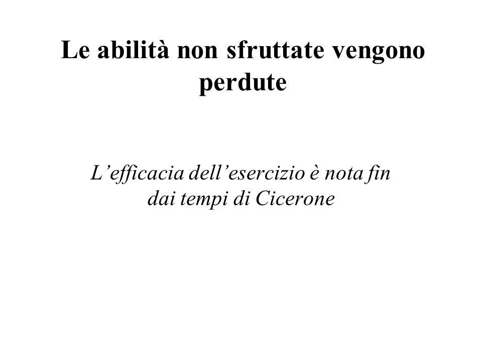Le abilità non sfruttate vengono perdute Lefficacia dellesercizio è nota fin dai tempi di Cicerone