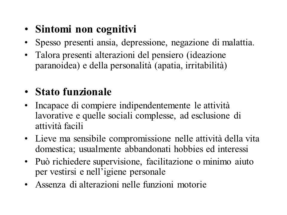 Sintomi non cognitivi Spesso presenti ansia, depressione, negazione di malattia. Talora presenti alterazioni del pensiero (ideazione paranoidea) e del