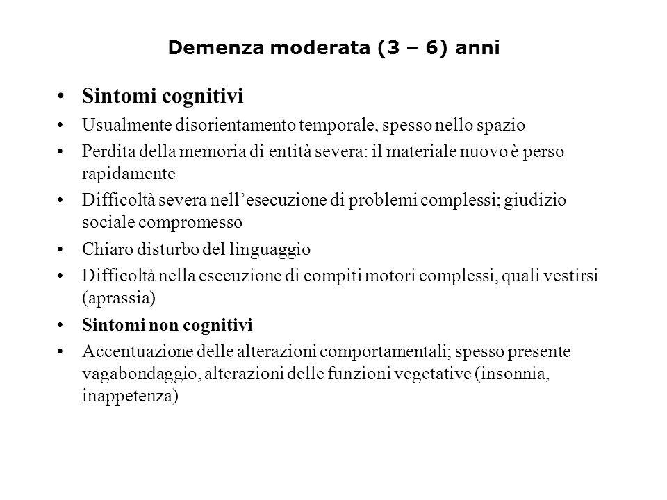 Demenza moderata (3 – 6) anni Sintomi cognitivi Usualmente disorientamento temporale, spesso nello spazio Perdita della memoria di entità severa: il m