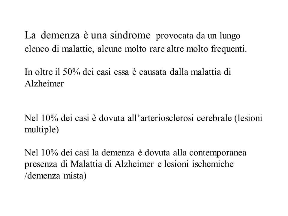 La demenza è una sindrome provocata da un lungo elenco di malattie, alcune molto rare altre molto frequenti. In oltre il 50% dei casi essa è causata d