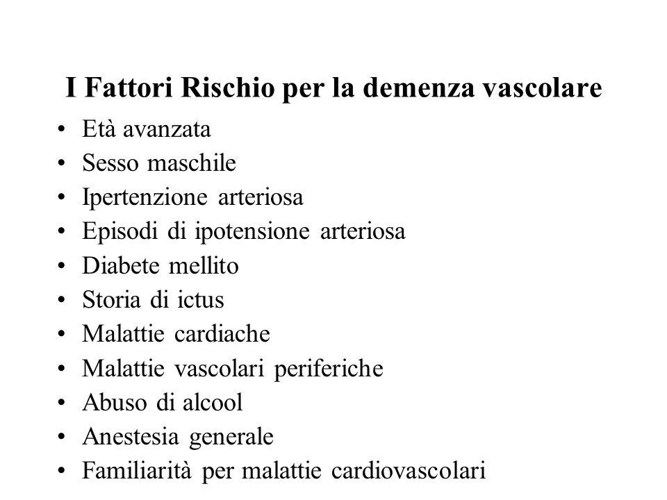 I Fattori Rischio per la demenza vascolare Età avanzata Sesso maschile Ipertenzione arteriosa Episodi di ipotensione arteriosa Diabete mellito Storia
