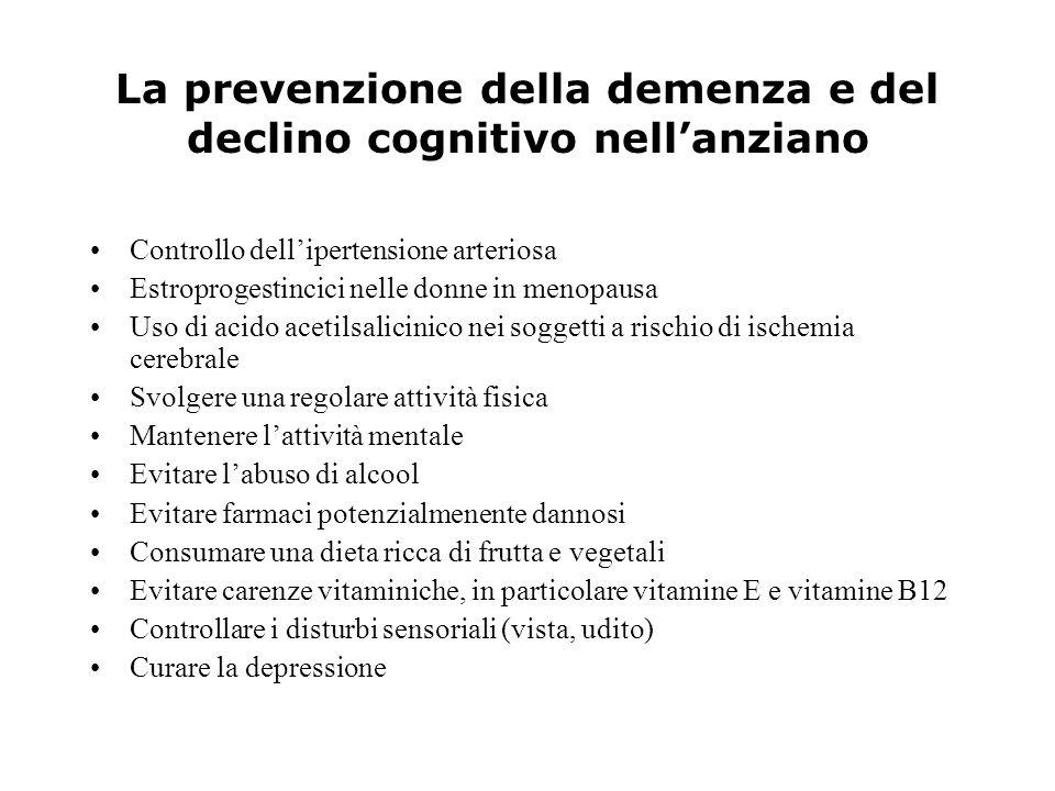La prevenzione della demenza e del declino cognitivo nellanziano Controllo dellipertensione arteriosa Estroprogestincici nelle donne in menopausa Uso