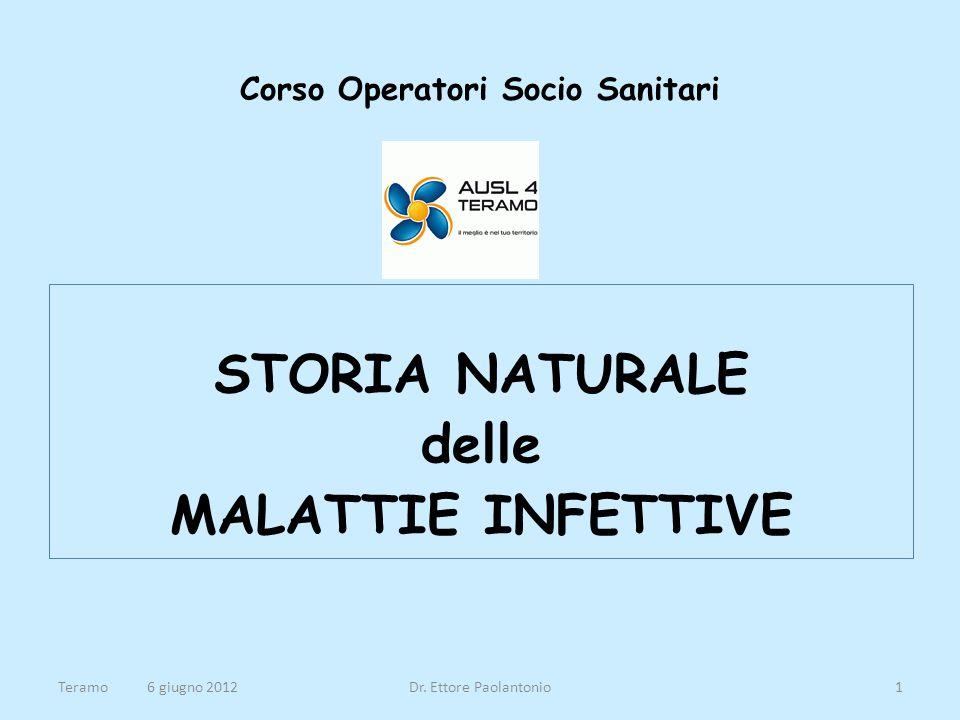 Corso Operatori Socio Sanitari STORIA NATURALE delle MALATTIE INFETTIVE Teramo 6 giugno 2012Dr. Ettore Paolantonio1