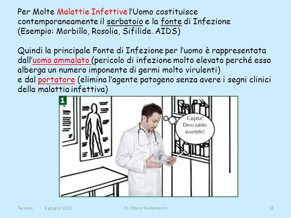 Per Molte Malattie Infettive lUomo costituisce contemporaneamente il serbatoio e la fonte di Infezione (Esempio: Morbillo, Rosolia, Sifilide. AIDS) Qu