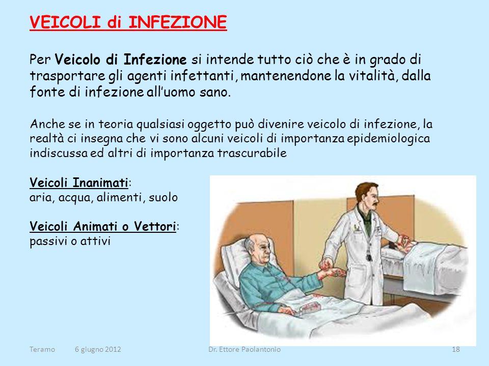 VEICOLI di INFEZIONE Per Veicolo di Infezione si intende tutto ciò che è in grado di trasportare gli agenti infettanti, mantenendone la vitalità, dall