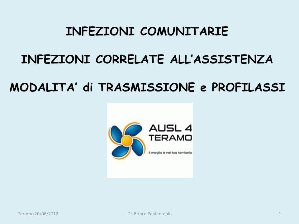 INFEZIONI COMUNITARIE INFEZIONI CORRELATE ALLASSISTENZA MODALITA di TRASMISSIONE e PROFILASSI Teramo 20/06/2012Dr. Ettore Paolantonio1