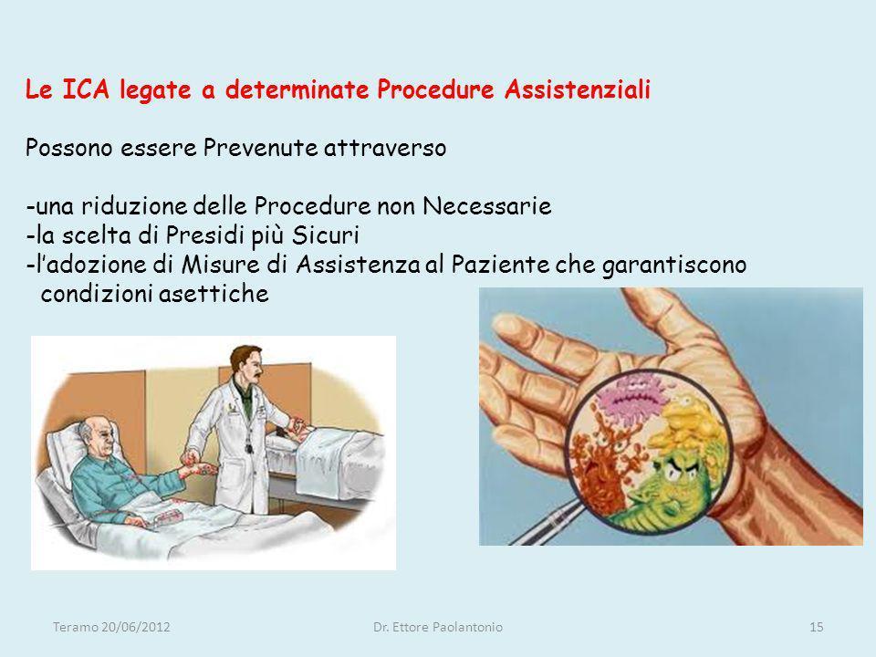 Le ICA legate a determinate Procedure Assistenziali Possono essere Prevenute attraverso -una riduzione delle Procedure non Necessarie -la scelta di Pr
