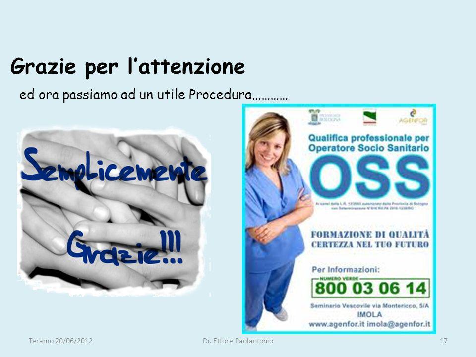 Grazie per lattenzione ed ora passiamo ad un utile Procedura………… Teramo 20/06/2012Dr. Ettore Paolantonio17