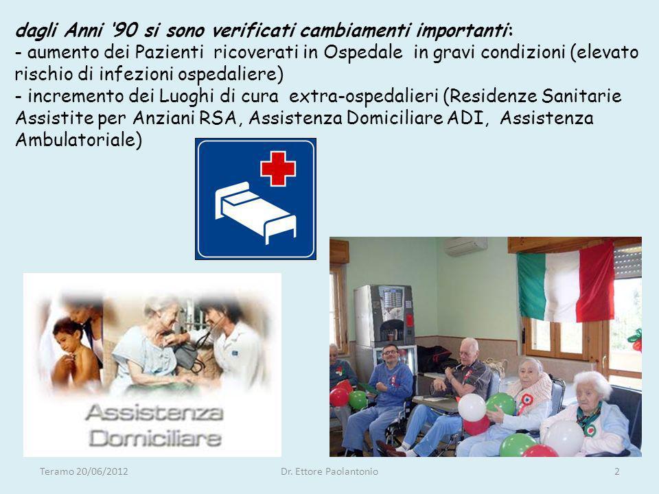 dagli Anni 90 si sono verificati cambiamenti importanti: - aumento dei Pazienti ricoverati in Ospedale in gravi condizioni (elevato rischio di infezio