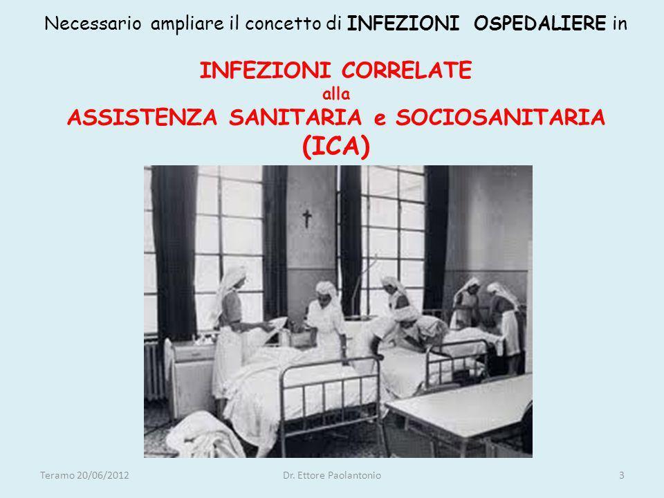 Necessario ampliare il concetto di INFEZIONI OSPEDALIERE in INFEZIONI CORRELATE alla ASSISTENZA SANITARIA e SOCIOSANITARIA (ICA) Teramo 20/06/2012Dr.