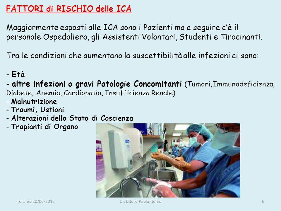 FATTORI di RISCHIO delle ICA Maggiormente esposti alle ICA sono i Pazienti ma a seguire cè il personale Ospedaliero, gli Assistenti Volontari, Student