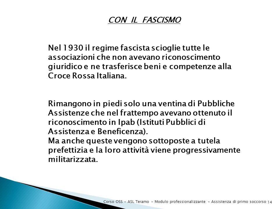 Corso OSS - ASL Teramo - Modulo professionalizzante - Assistenza di primo soccorso 14 CON IL FASCISMO Nel 1930 il regime fascista scioglie tutte le as