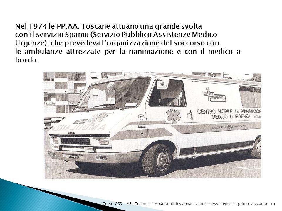 Corso OSS - ASL Teramo - Modulo professionalizzante - Assistenza di primo soccorso 18 Nel 1974 le PP.AA. Toscane attuano una grande svolta con il serv