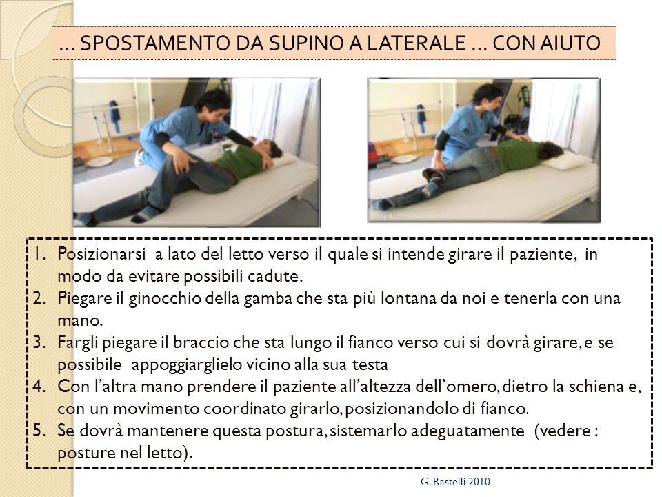 … SPOSTAMENTO DA SUPINO A LATERALE … CON AIUTO 1.Posizionarsi a lato del letto verso il quale si intende girare il paziente, in modo da evitare possibili cadute.