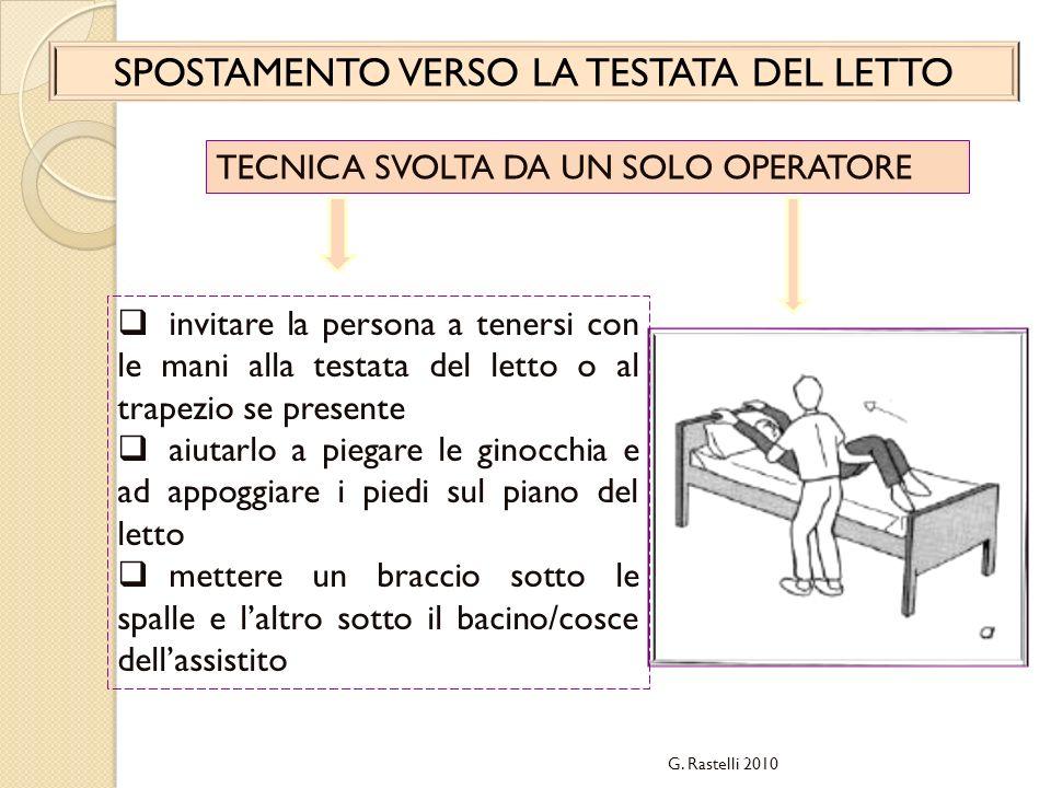 G. Rastelli 2010 SPOSTAMENTO VERSO LA TESTATA DEL LETTO TECNICA SVOLTA DA UN SOLO OPERATORE invitare la persona a tenersi con le mani alla testata del