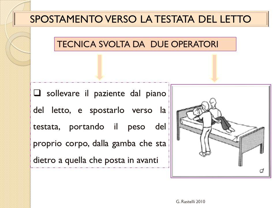 G. Rastelli 2010 SPOSTAMENTO VERSO LA TESTATA DEL LETTO TECNICA SVOLTA DA DUE OPERATORI sollevare il paziente dal piano del letto, e spostarlo verso l