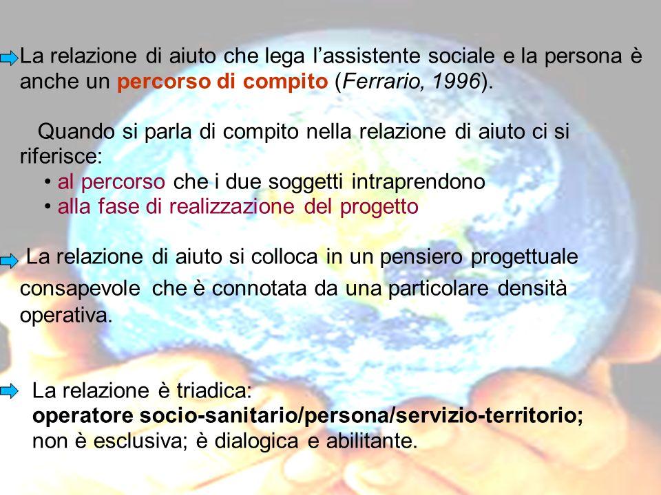 La relazione di aiuto che lega lassistente sociale e la persona è anche un percorso di compito (Ferrario, 1996). Quando si parla di compito nella rela
