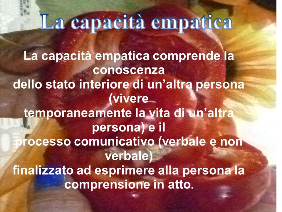 La capacità empatica comprende la conoscenza dello stato interiore di unaltra persona (vivere temporaneamente la vita di unaltra persona) e il process