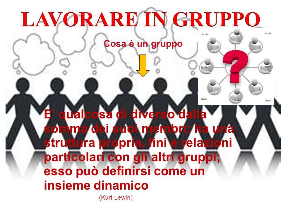 Cosa è un gruppo E qualcosa di diverso dalla somma dei suoi membri: ha una struttura propria, fini e relazioni particolari con gli altri gruppi; esso