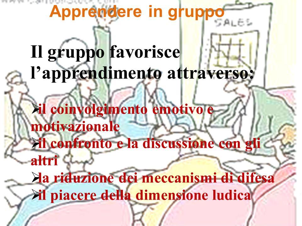 Apprendere in gruppo Il gruppo favorisce lapprendimento attraverso: il coinvolgimento emotivo e motivazionale il confronto e la discussione con gli al
