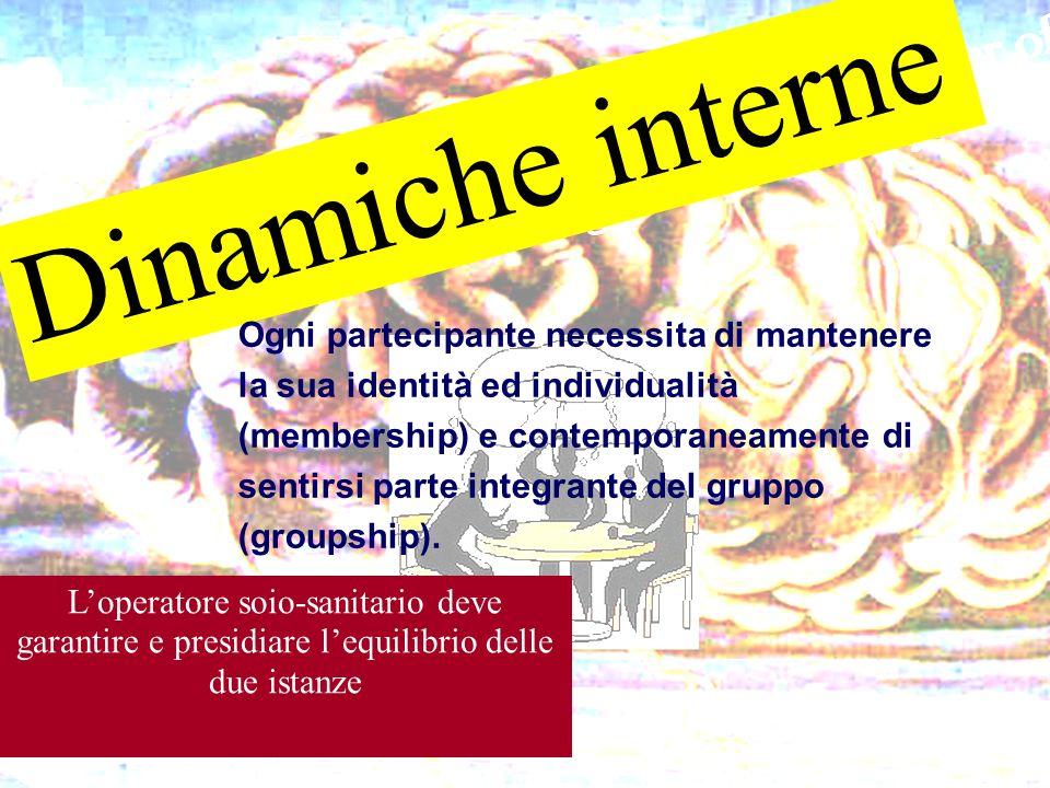 Dinamiche interne Ogni partecipante necessita di mantenere la sua identità ed individualità (membership) e contemporaneamente di sentirsi parte integr
