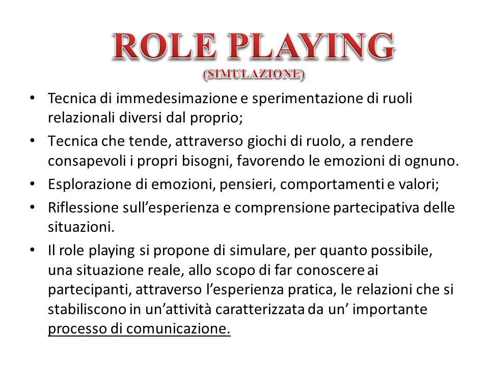 Tecnica di immedesimazione e sperimentazione di ruoli relazionali diversi dal proprio; Tecnica che tende, attraverso giochi di ruolo, a rendere consap
