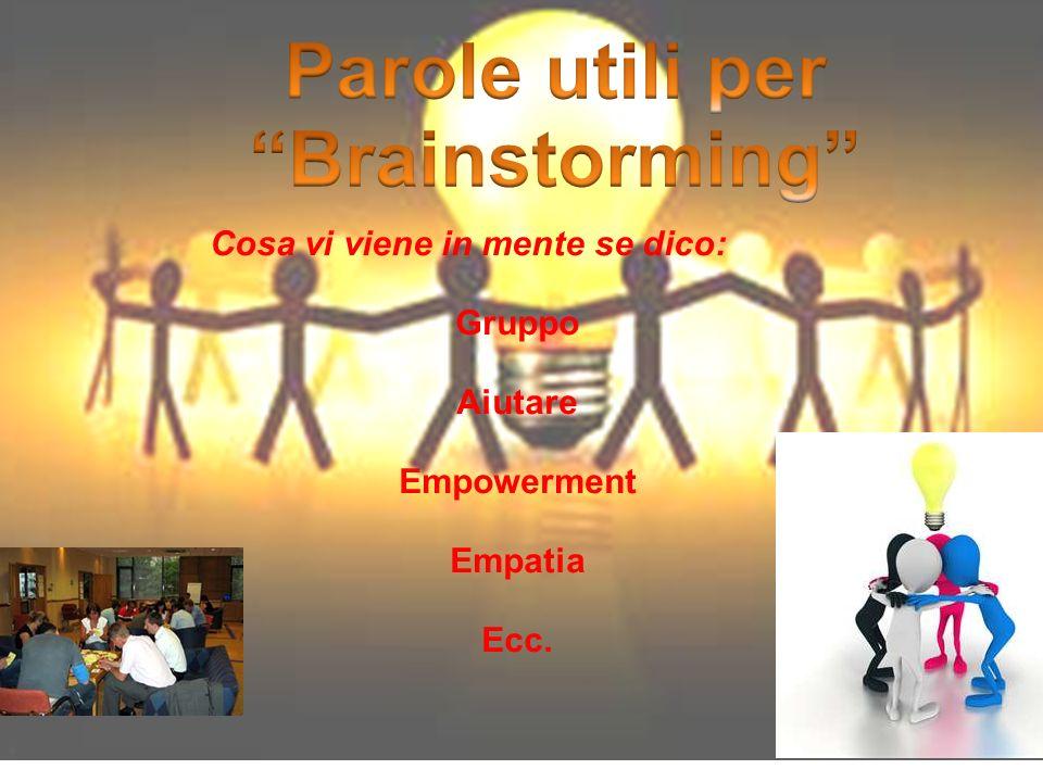 Cosa vi viene in mente se dico: Gruppo Aiutare Empowerment Empatia Ecc.